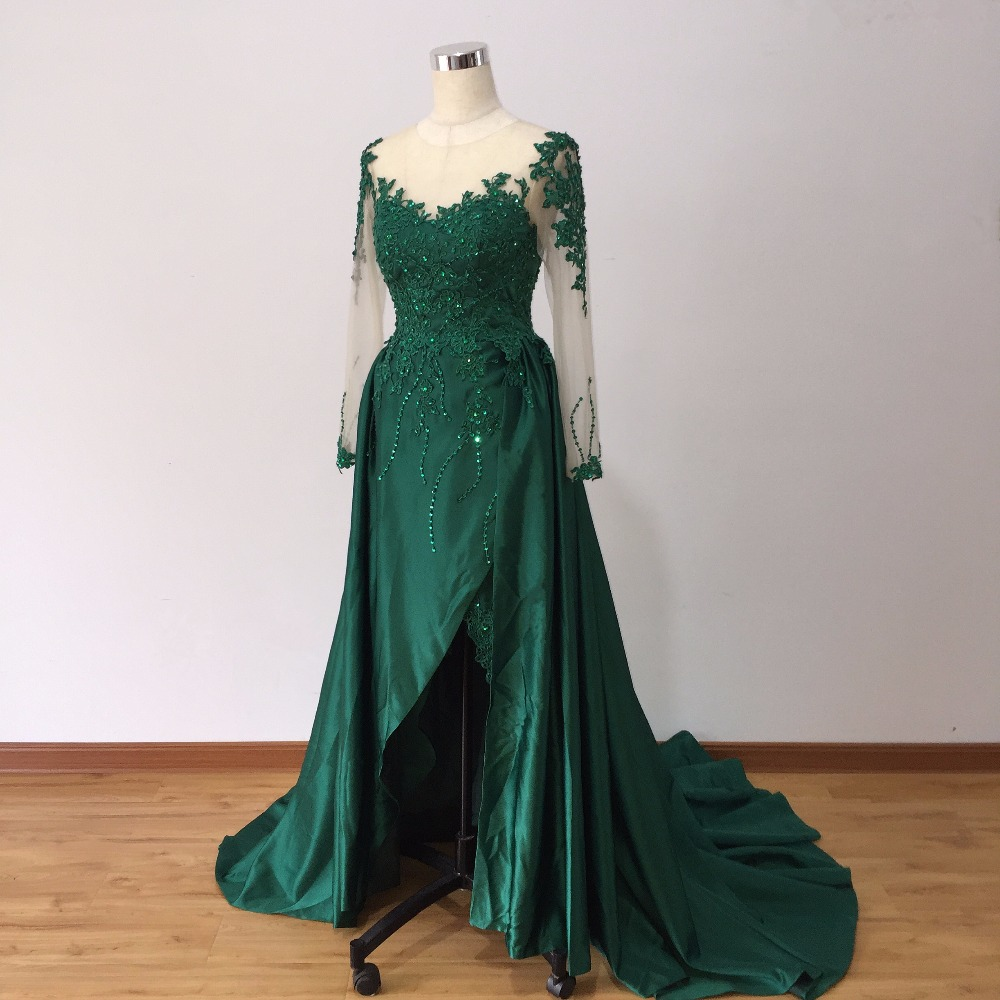 Muslim Green Lace Evening Dresses 2019 Long Sleeve Prom Dresses Split vestido de festa Dubai Formal Party Gown robe de soiree