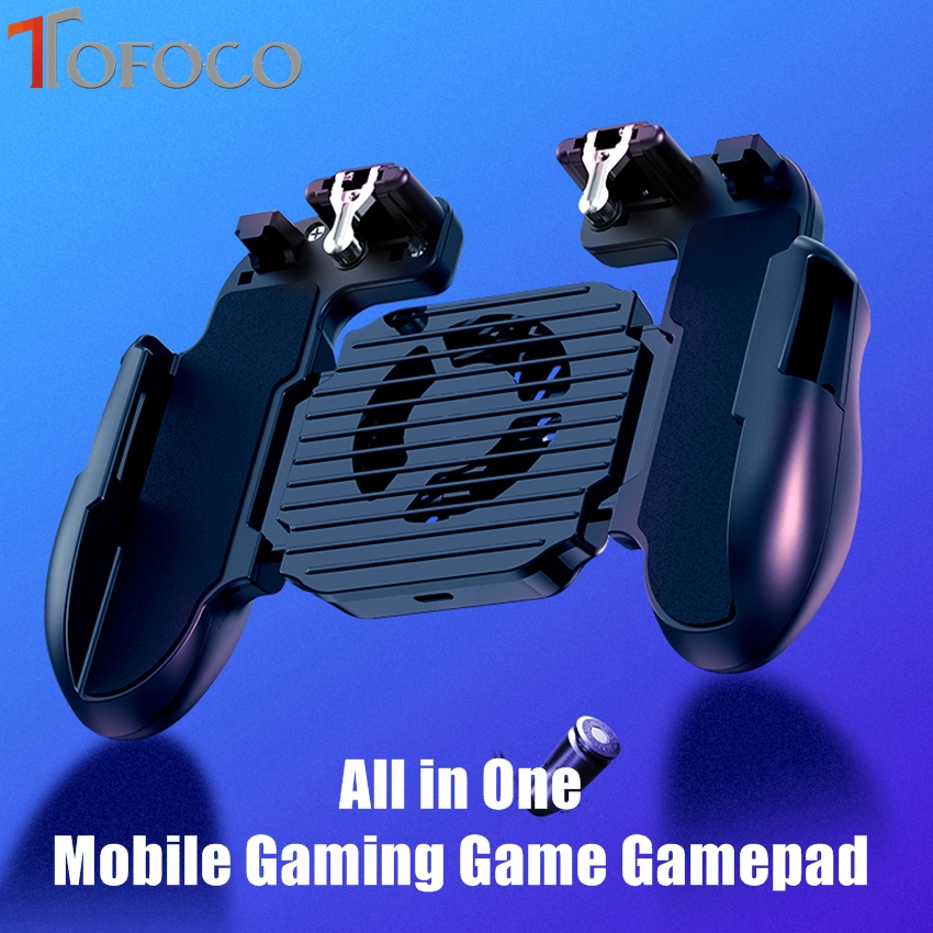 All in One Mobile Gaming Game Pad For PUBG Mobile Game Controller Gamepad Joystick Metal L1 R1 Trigger with Cooling fan Gamepads     - title=