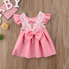 цены Vintage Infant Newborn Baby Girls Dress Summer Lace Ruffles Princess Baby Girl Dresses Party Travel Holiday Costumes W3
