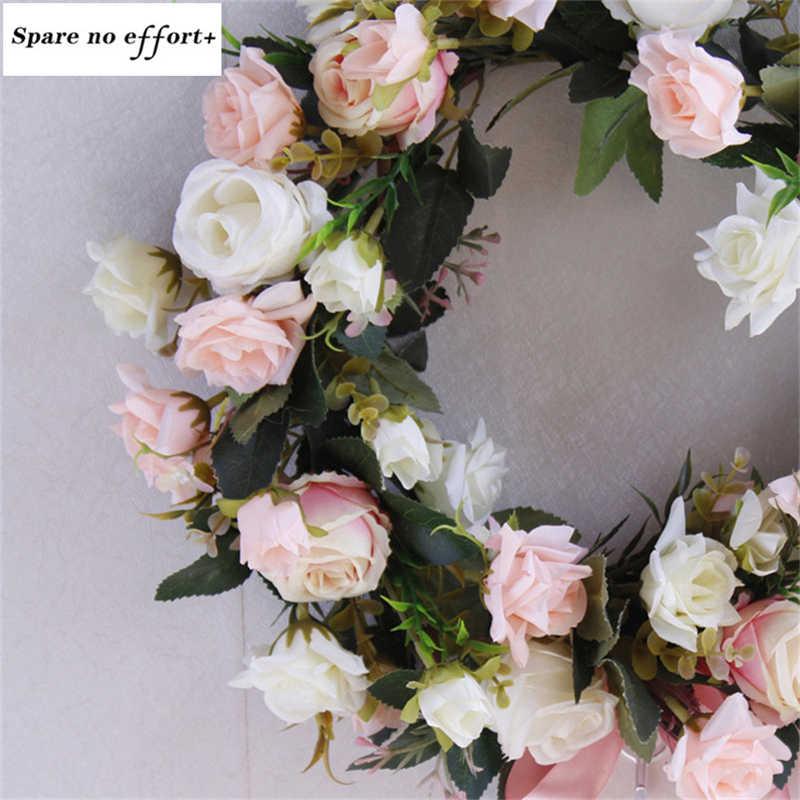 32 cm Aritificial Door Knocker Mô Phỏng Lụa Hoa Hồng Hoa Vòng Hoa Bọt Rơm Vòng Hoa Cho Đám Cưới Bên Nhà Trang Trí Hoa
