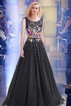 Mujeres Largo Negro Vestido de Noche 2017 Atractivo Del Tanque Sin Mangas de Encaje de Tul Apliques vestido de Bola Formal de Baile Vestido Vestido De Festa