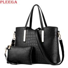 PLEEGA Famous Brand Vintage Alligator Composite Bag Female Designer Handbags High Quality PU Leather Big Crossbody Bag for Women