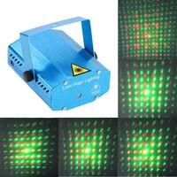 Mini 6 Patterns Laser Stage Lights LED R G Lighting Xmas Party KTV DJ Disco Show