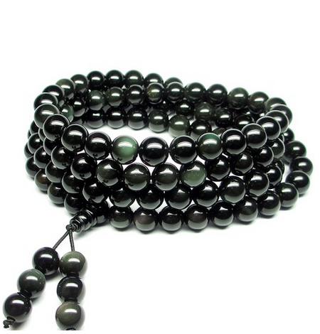 Drop Shipping 108* 6-8mm Rainbow eye Obsidian Beads bracelet&Bangle Buddha Rosary Buddhist For Lovers Jewelry