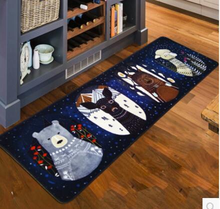 Animal de bande dessinée imprimé flanelle tapis sol tapis en peluche paillasson coussin de pied baywindow antidérapant salle de bain