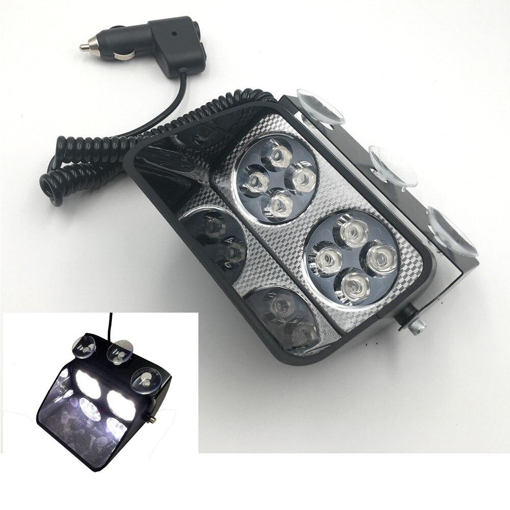 CYAN SOIL BAY 8 LED 8W White Car Beacon Flashing Light Bar Emergency Windshield Strobe L ...