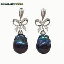 baroque pearls elegant Bowknot style noble dangle earrings  black blue color flameball freshwater pearl 925 silver for women недорого