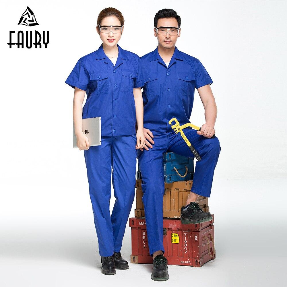 Workshop Clothes Unisex Engineering Uniform Summer Short Sleeves Repairment Workshop Labor Work Wear Protection Jacket+Pants
