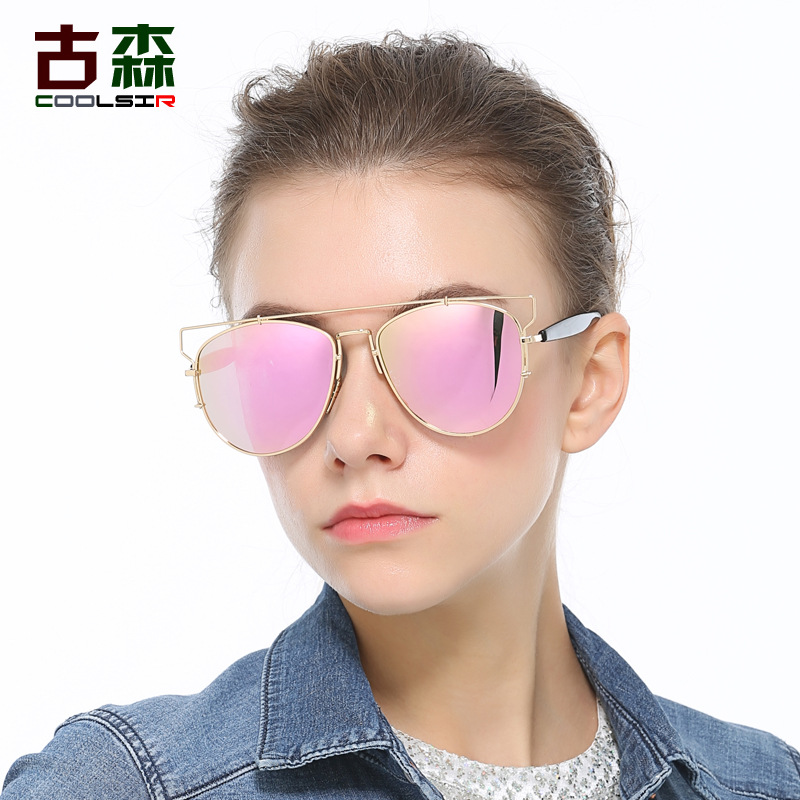 10pcs/lot New Cat Eye Sunglasses Women Brand Designer Fashion Twin-Beams Rose Gold Mirror Cateye Sun Glasses For Female
