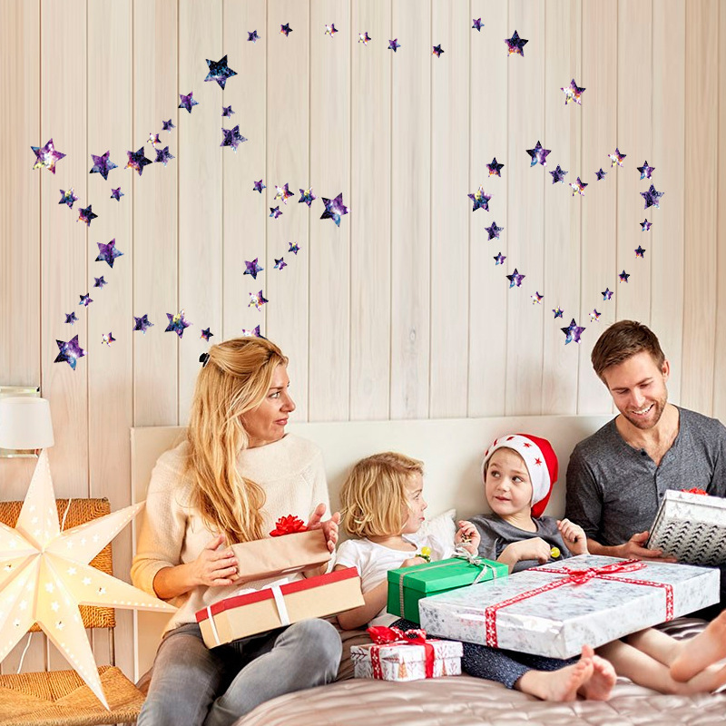 67pcs / lot 3D wallpaper Night sky stars planet wall stickers cabinets TV background glass childrens room decorative murals