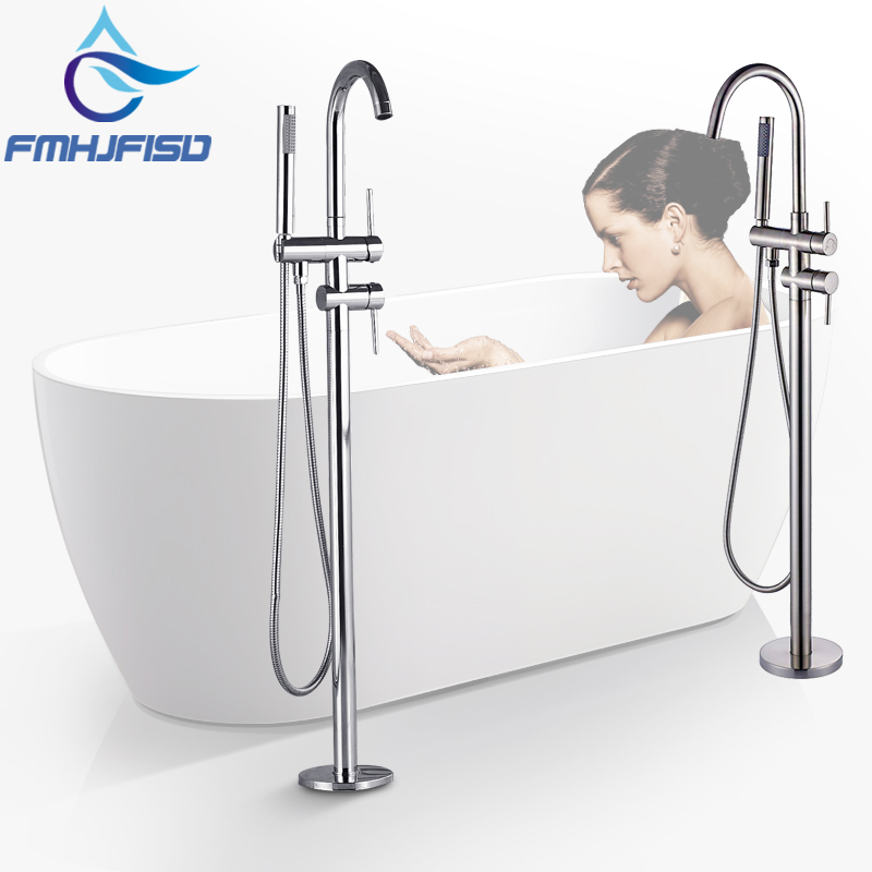 Wholesale And Retail Polished Chrome Brass Bathroom Tub Faucet Floor Mounted Tub Filler W/ Hand Shower Swivel Spout Shower digital inductive moisture meter for measuring wood mud ground range 0 100