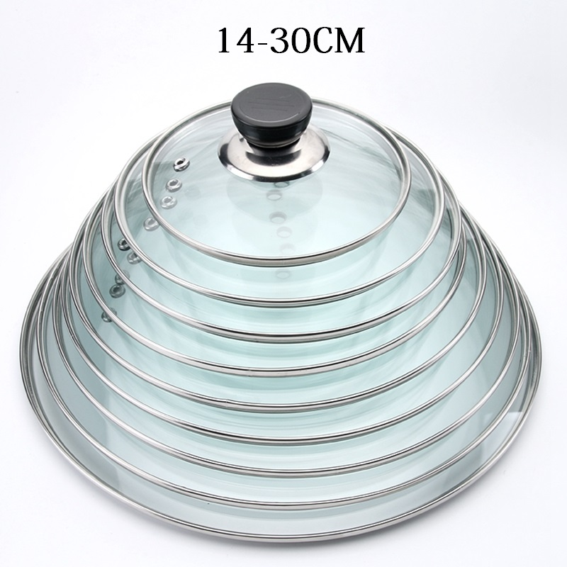Cookware & Parts 14-30cm Cookware Parts Reinforced Glass Lid Tempered Wok Frying Pan Cover Pyrex Glass Round Chef Pan Lid With Knob At Any Cost Kitchen,dining & Bar