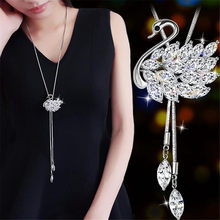 Rhinestone Opals Swans Pendant Ladies Fashion Cute Swan Necklace 2018 Fashion Girls Sweater Long Necklace(China)