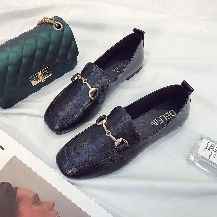 Sauvage Confortables Chaussures Boucle Mode Plates Casual Nouveau En Angleterre Coréenne Métal Noir Tendance YIHqwRE