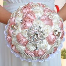 2017 New SSYFashion Luxury Wedding Bouquets Silk Crystal Pearl Rose Flower Bridal Bouquet Holding Flower Photography Accessories