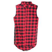 Tyga L K Hip hop gold side zipper oversized plaid flannel shirt tee men casual red