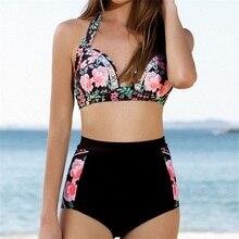 Фотография 2016 Sexy Floral Print Bikinis Swimwear Women Brazillian Bikini Set High Waist Swimsuit Women