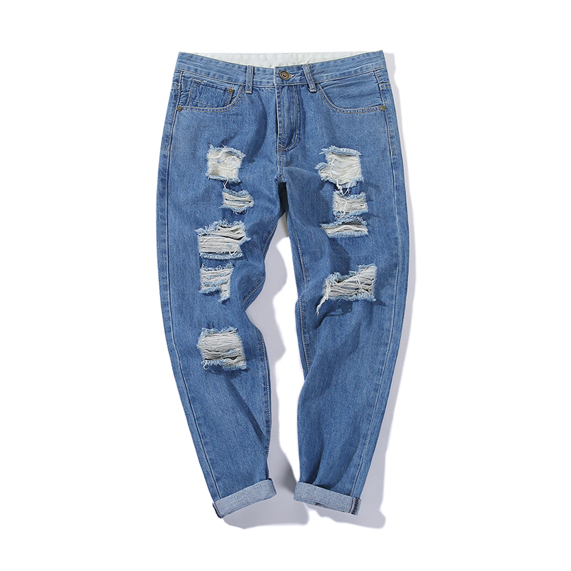 2018 Holes Jeans Cotton The new listing Fashion Favourite Free shipping casual wild streetwear halen blue simple