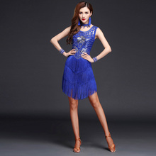 цена 2018 New High Quality Women Latin dance Dress Sequin Latin Dance Dress Adult Sexy Women Tassel Costume Tango Salsa Dance Dress
