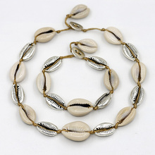 Womens Pop Natural Shell Necklace Set Handmade Braided Bracelet Simple Charm