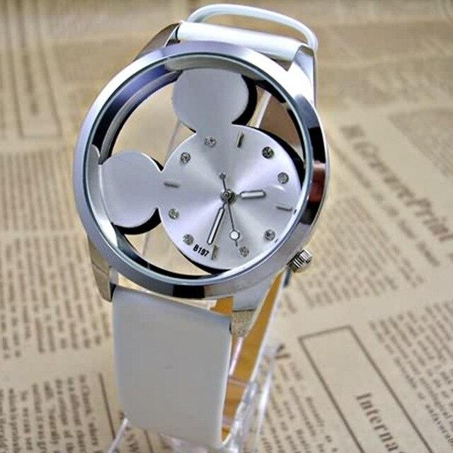 Cute Cartoon Quartz Wrist Watch 2018 Fashion Mickey Women Watches Transparent Hollow Leather Ladies Dress Watches Female Relojes