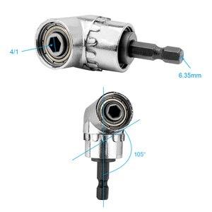 Image 4 - 105 Graden Hoek Schroevendraaier Set Socket Houder Adapter Verstelbare Bits Boor Hoek Schroevendraaier Tool 1/4Inch hex Bit Socket