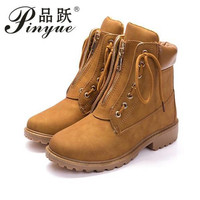 Fashion leather women boots winter shoes ankle boots for women 2018 short plush adult female snow boots plus size 36 41