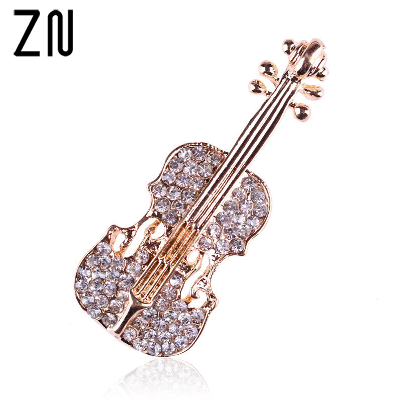 ZN Fashion Women pins Personality brooches Crystal Rhinestones Violin Brooches Pin Jewelry Accessories Brooch