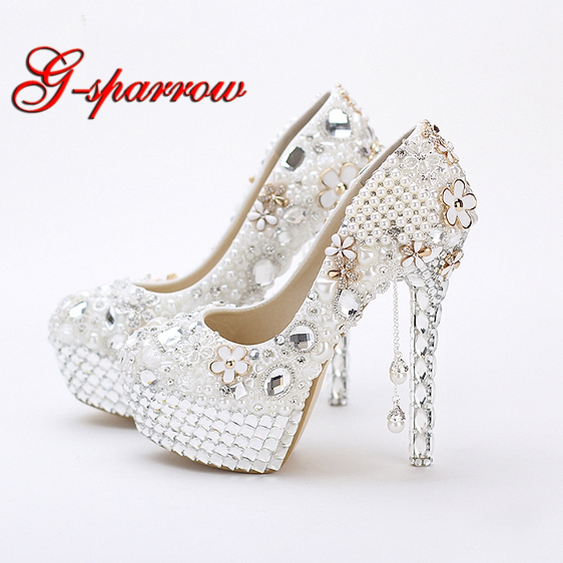 5 Inches Princess Crystal Wedding Shoes White Pearls Women
