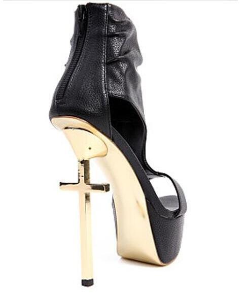 punk style gold Cross heel high platform sandal real photo large size 43 nightclub cross high heel sandal T strap sandal