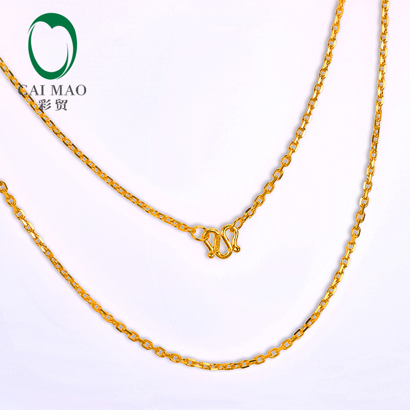 CAIMAO 24K Pure 999 Gold Chain Design Womens Fine Engagement Exquisite Romantic Gift Trendy 45cm Length