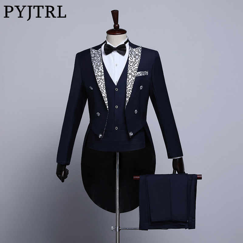 PYJTRL Male Fashion Black Navy Blue White Floral Lapel Wedding Grooms Tailcoat Tuxedo Evening Party Costumes Singers Suit Men