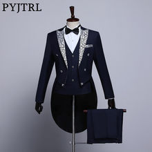 PYJTRL Male Fashion Black Navy Blue White Floral Lapel Wedding Grooms Tailcoat Tuxedo Evening Party Costumes Singers Suit Men(China)