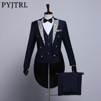 PYJTRL Male Fashion Black Navy Blue White Floral Lapel Wedding Grooms Tailcoat Tuxedo Evening Party Costumes Singers Suit Men