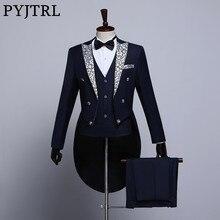 PYJTRL Mannelijke Mode Zwart Navy Blauw Wit Bloemen Revers Wedding Grooms Tailcoat Tuxedo Avond Party Kostuums Zangers Pak Mannen