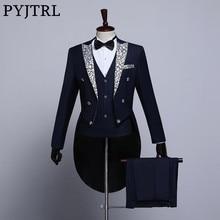 PYJTRL manteau Floral pour homme à la mode, noir bleu marine blanc, revers Floral pour marié, smoking fête, costume de chanteur pour homme