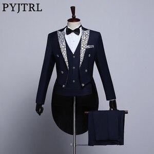 Image 1 - PYJTRL זכר אופנה שחור כהה כחול לבן פרחוני דש חתונה חתנים מעייל פראק טוקסידו ערב מסיבת תחפושות זמרים חליפת גברים