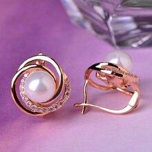 Blucome perla exquisita perla pendientes de la joyería para las mujeres chapado en oro de cobre rhinestone circón pendiente del perno prisionero accesorios de oído suave