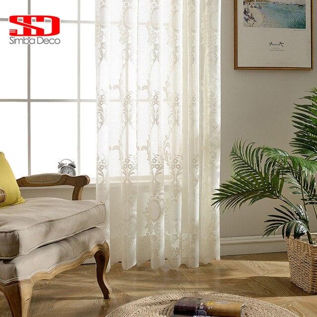 acheter blanc brod tulle rideaux pour salon voilage chambre europ enne floral. Black Bedroom Furniture Sets. Home Design Ideas