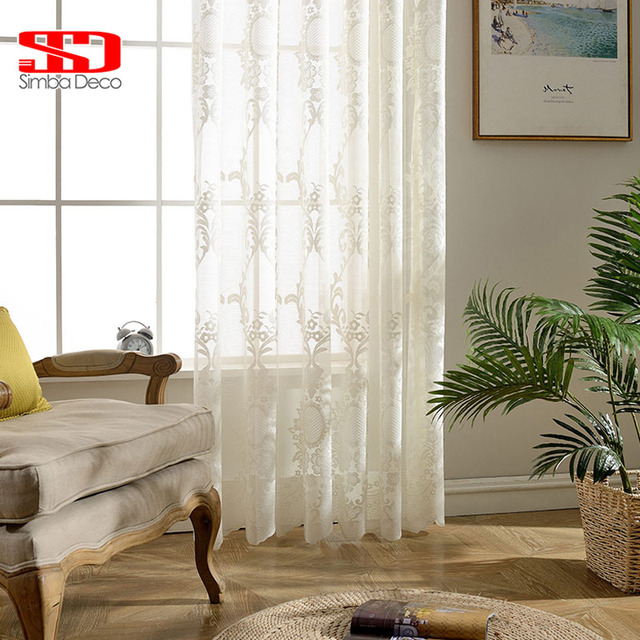 White Embroidered Tulle Curtains For Living Room Sheer Curtain Bedroom European Floral Lace Voile Custom Size