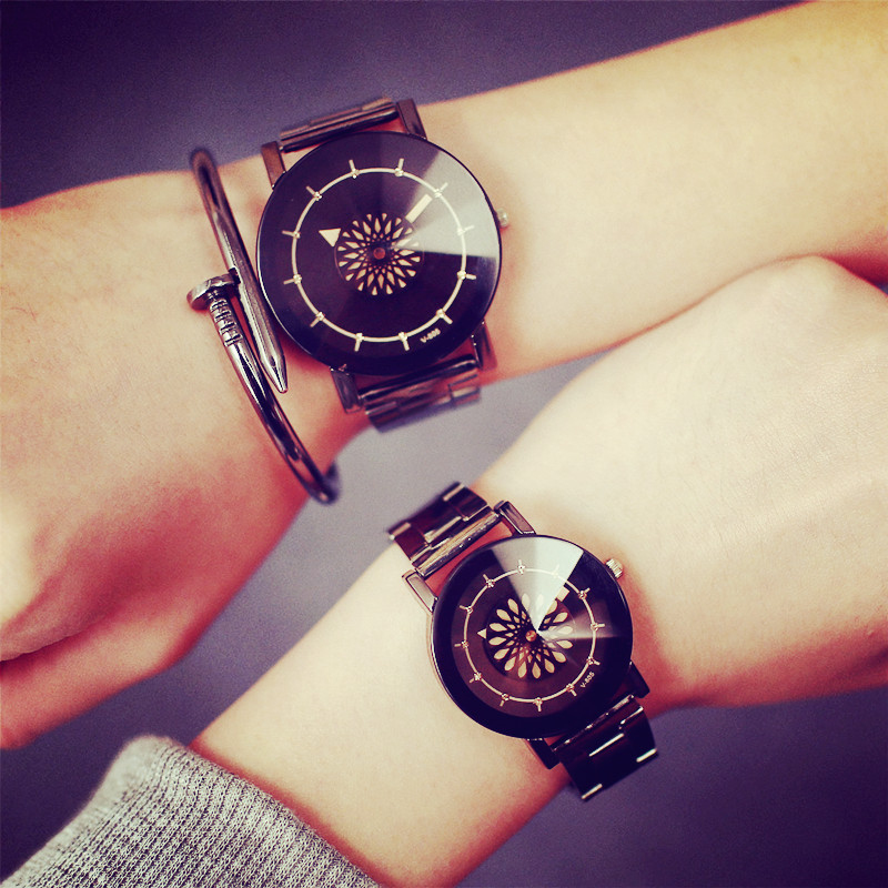 Creative Fashion Luxury Diamond Mirror Watch Men Women Flower Turntable Design Watch Stainless Steel Quartz Couple Wristwatch