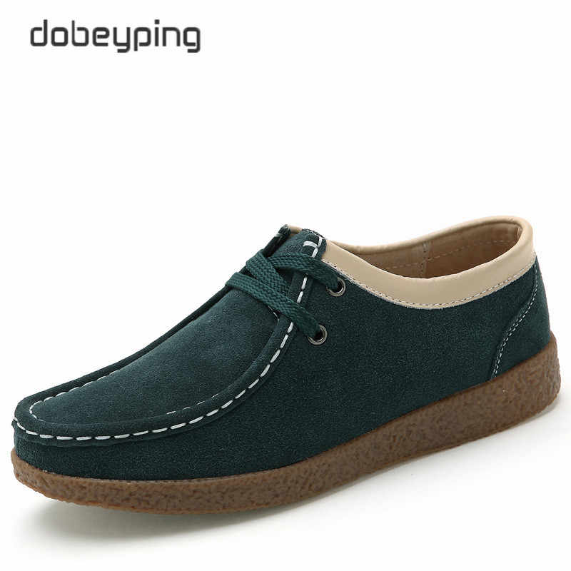 dobeyping 2018 Spring Autumn Shoes Woman Cow Suede Leather Women Shoes Lace-Up Women's Loafers Moccasins Flats Female Sneakers