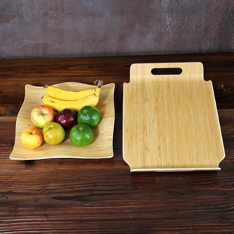 Vassoi di tè di frutta di bambù creativi Piatti di servizio di legno naturale Vassoi di immagazzinaggio di Eco di multi-uso per frutta / alimento / tè Eco amichevole