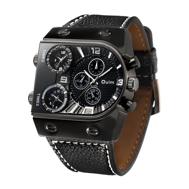 Oulm Sports Quartz Watches Top Luxury Brand Mens Wristwatch Multiple Time Zone Casual PU Leather Watch Male relogio masculino top brand luxury oulm 2 time zone men watches military sports quartz watch 2017 men rose golden case relogio masculino box