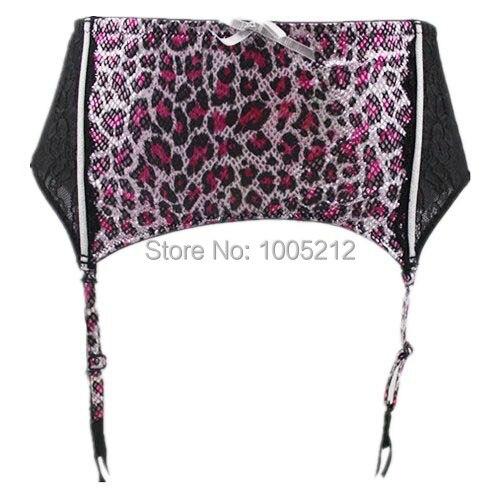 Women Female Garter Belt Leopard Python Print Size XL Intimates Lingeries Spandex Skin Color Black Suspender Floral Gauze Mesh