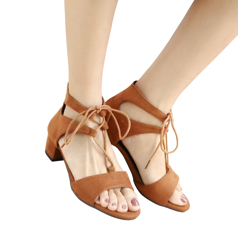 Plus Big Size Summer Flock Women Sandals Low Medium Block Heels Open Toe Casual Party Tie Up Ankle Strap Faux Suede Ladies Shoes polished gold solid brass toilet paper holder tissue box luxury high quality wall mounted roll holder toilet accessories sets t1