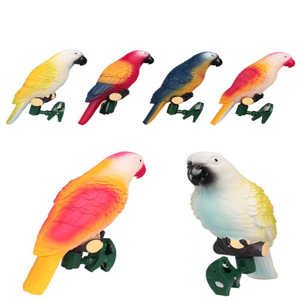 DSstyles 4PCS LED Solar-Powered Light Cute Parrot Shape Lamp Landscape Ornament For Yards Garden