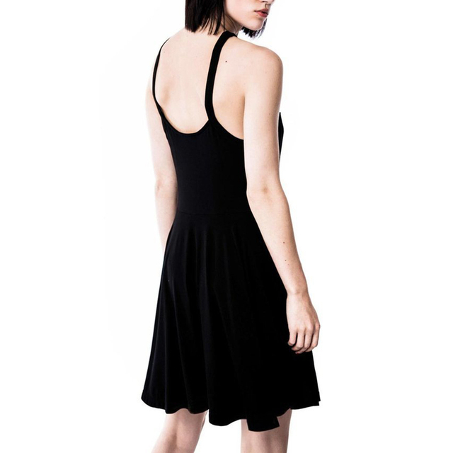 new Sexy Women Five-pointed Star Weave V Neck Sleeveless Backless Gothic Mini Dress 2