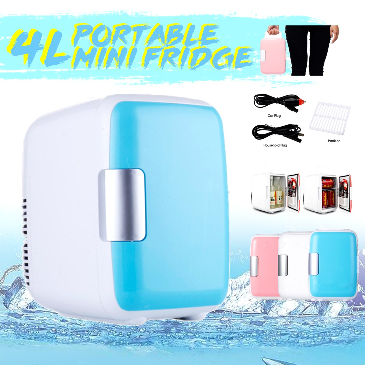 4L Portable Mini Fridge Dual-use Cooler Warmer Auto Car Boat Home Office Freezer 220V-240V/12V Dormitory Cans Beer Cooler(China)