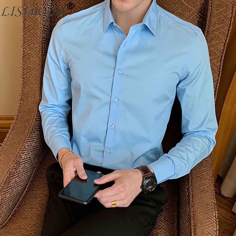 Men Dress Shirt Regular Fit Dimension Solid Color Teal